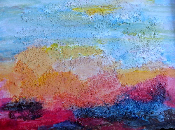 Landscape on Board, 9 x 12, Acrylic with Texture on Canvas Board