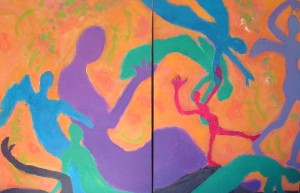 Grace Heart Moves, Diptych 30 x 40, Acrylic with Texture on Canvas