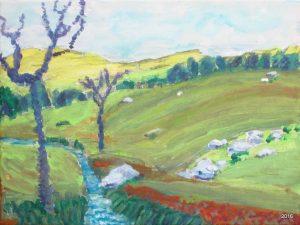 Pasture Near Home, 9 x 12, Acrylic