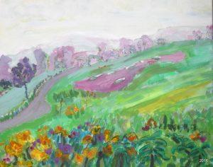 Rosco with Flowers, 16 x 20, $475