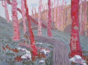 Path Through Pink Woods, 16 x 20, $395