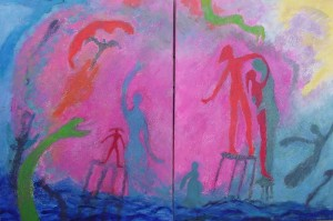 Green Snake Diptych, 30 X 40s, $995