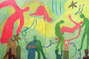 Trusting Ease, Diptych, 30 x 40s, $995